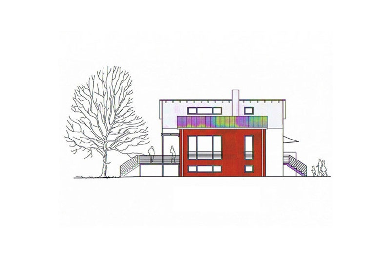 Feng-Shui Haus Perspektive Ostansicht