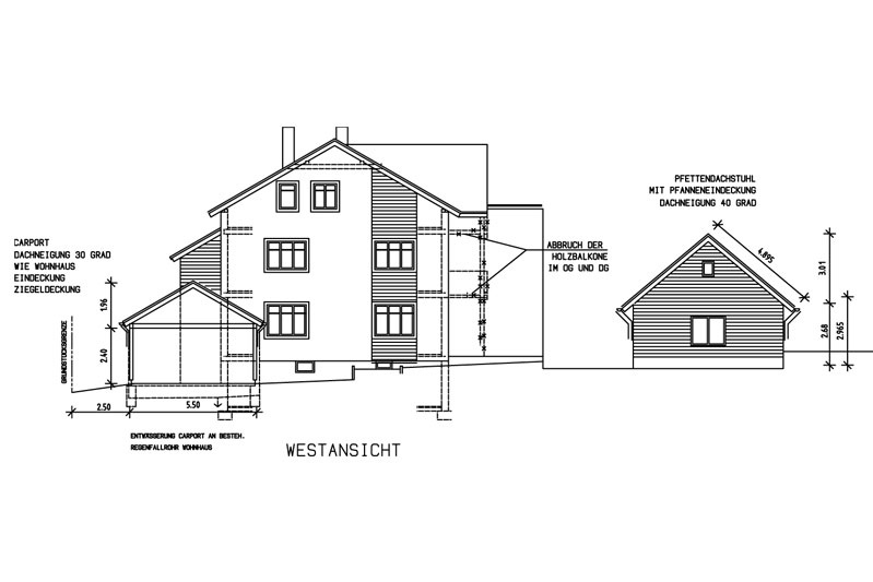Sanierung Schwandorf Plan Westansicht