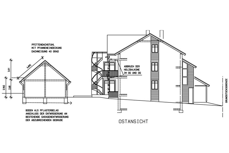 Sanierung Schwandorf Plan Ostansicht