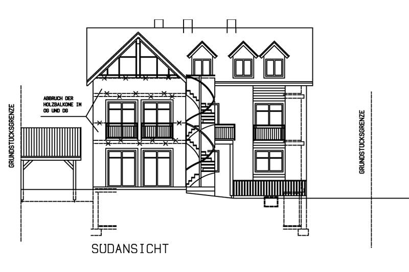 Sanierung Schwandorf Plan Südansicht
