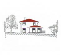 Toskana Haus Perspektive Westansicht
