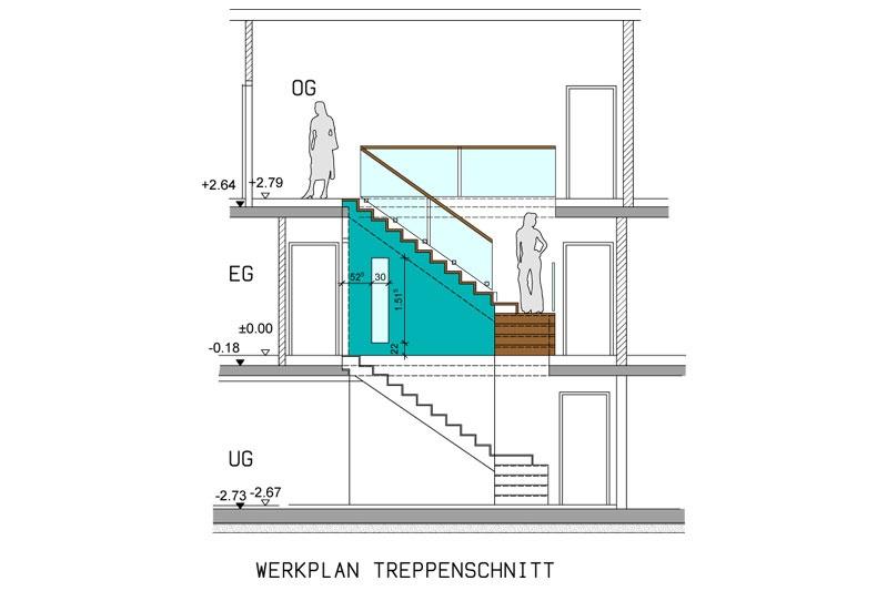 Pultdachhaus Treppenschnitt