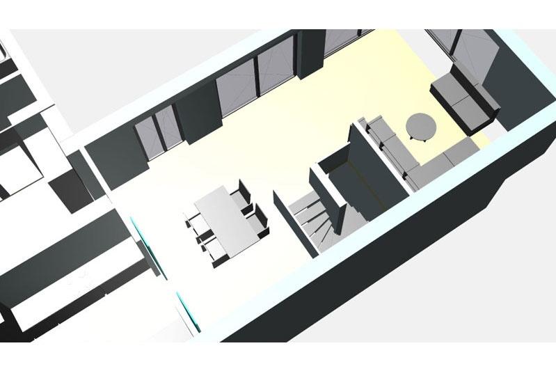Denkmalschutz Ganghofersiedlung Regensburg 3D-Ansicht Wendeltreppe