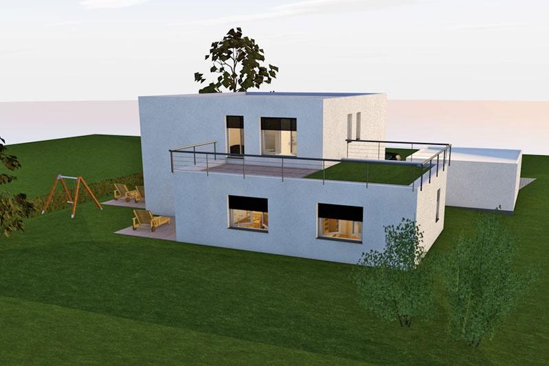 einfamilienhaus mit einliegerwohnung in s nching landkreis regensburg 0162 merkl architektur. Black Bedroom Furniture Sets. Home Design Ideas