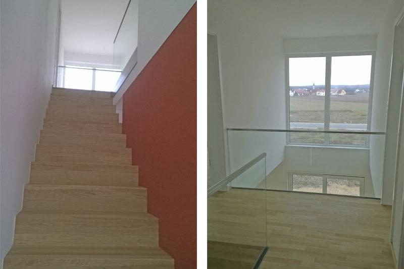 Einfamilienhaus mit Flachdach und Einliegerwohnung Sünching, Treppe und Galerie