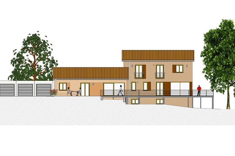 Mehrgenerationenhaus in Oberhinkofen, Landkreis Regensburg, Fassadengestaltung Ansicht Südwest