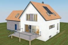Neubau eines Einfamilienhauses in Gebelkofen, Landkreis Regensburg, Ansicht Südwest