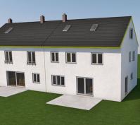 Zwei Doppelhaushälften Neutraubling, 3-D-Visualisierung Ansicht Süd-Ost
