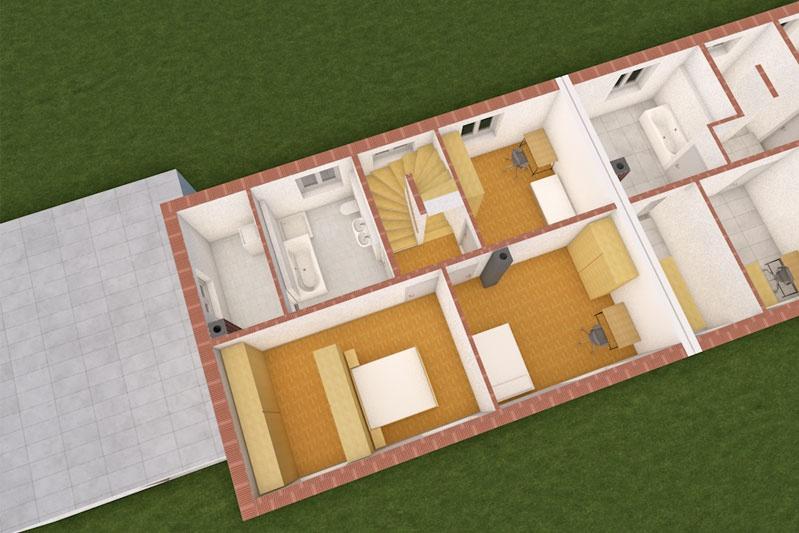 Zwei Doppelhaushälften Neutraubling, 3-D-Visualisierung Innenansicht Obergeschoss