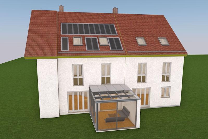 Anbau Wintergarten an Reihenmittelhaus Oberhinkofen, Entwurf