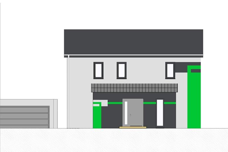 Einfamilienhaus mit Doppelgarage in Köfering, Landkreis Regensburg, Fassadengestaltung Eingangsbereich
