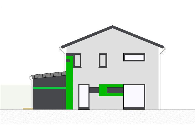 Einfamilienhaus mit Doppelgarage in Köfering, Landkreis Regensburg, Fassadengestaltung Seitenansicht