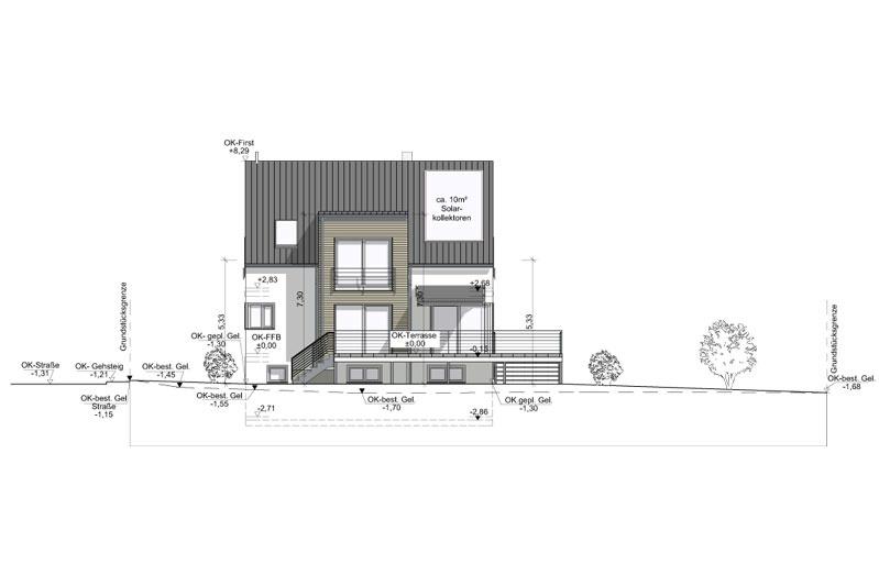 Neubau Einfamilienhaus in Büchelkühn, Landkreis Schwandorf, Planungsansicht Südwest