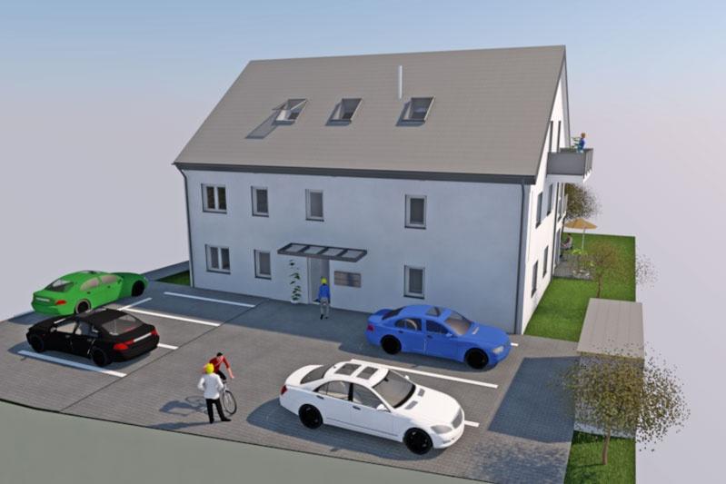 Neubau MFH in Barbing, Lkr. Regensburg, Planung Eingangsbereich