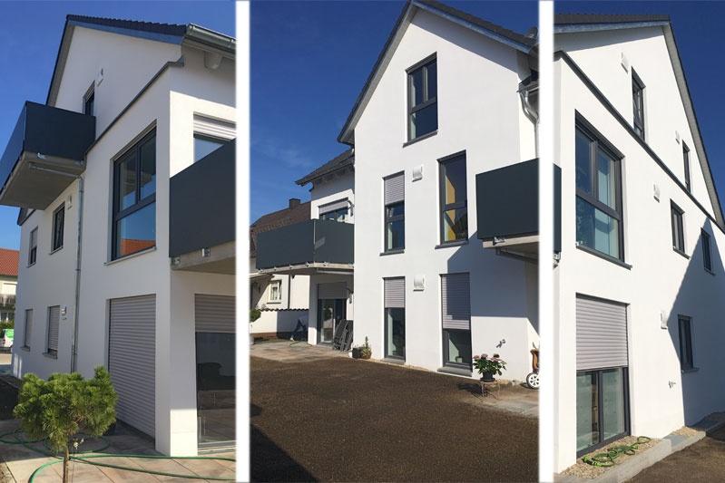 Neubau MFH in Barbing, Lkr. Regensburg, Südseite nach Fertigstellung