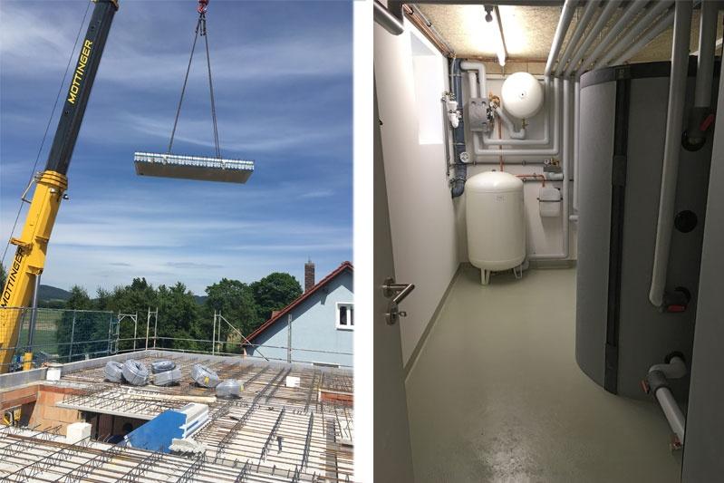 Neubau MFH in Barbing, Lkr. Regensburg, Bauphase und Heizraum
