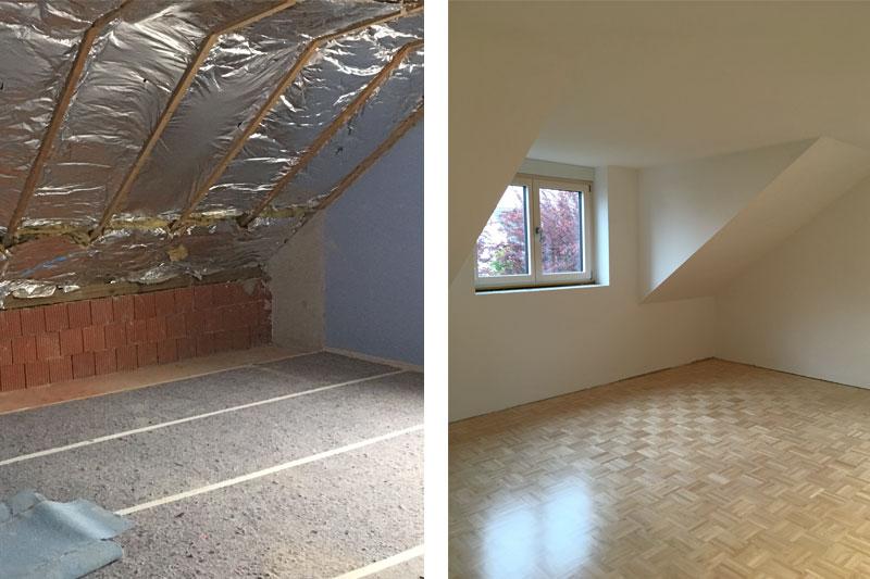 Sanierung Einfamilienhaus in Alteglofsheim, Landkreis Regensburg, Kinderzimmer vorher/nachher