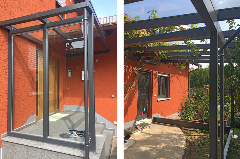 Sanierung Einfamilienhaus in Alteglofsheim, Landkreis Regensburg, Eingang und Kaltwintergarten