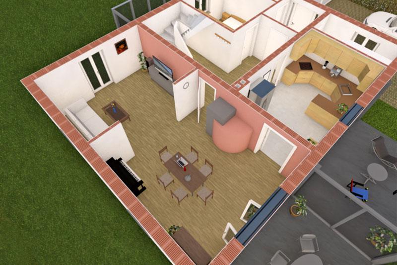 Sanierung Einfamilienhaus in Alteglofsheim, Landkreis Regensburg, Schnitt EG