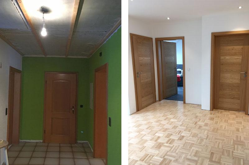Sanierung Einfamilienhaus in Alteglofsheim, Landkreis Regensburg, Diele vorher/nachher