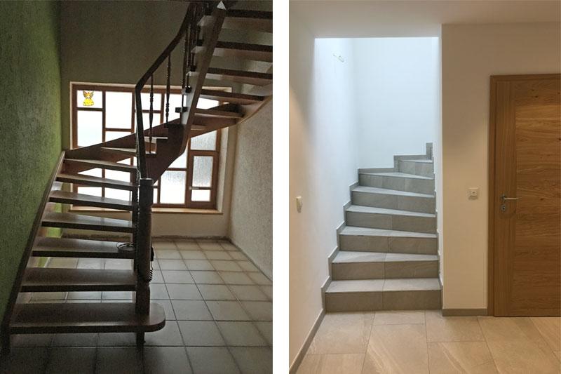 Sanierung Einfamilienhaus in Alteglofsheim, Landkreis Regensburg, Treppe vorher/nachher