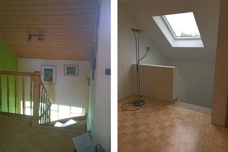 Sanierung Einfamilienhaus in Alteglofsheim, Landkreis Regensburg, Treppe Dachgeschoß vorher/nachher