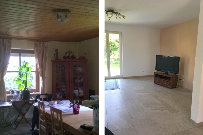 Sanierung Einfamilienhaus in Alteglofsheim, Landkreis Regensburg, Esszimmer vorher/nachher