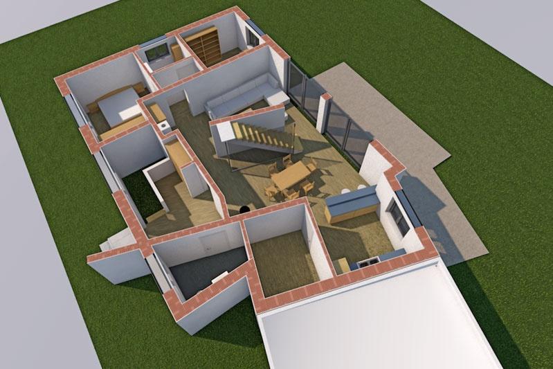 Neubau Einfamilienhaus in Thalmassing, Landkreis Regensburg, Planung Grundriss