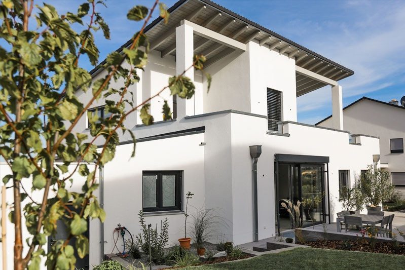 Neubau Einfamilienhaus in Thalmassing, Landkreis Regensburg, Außenansicht Tag