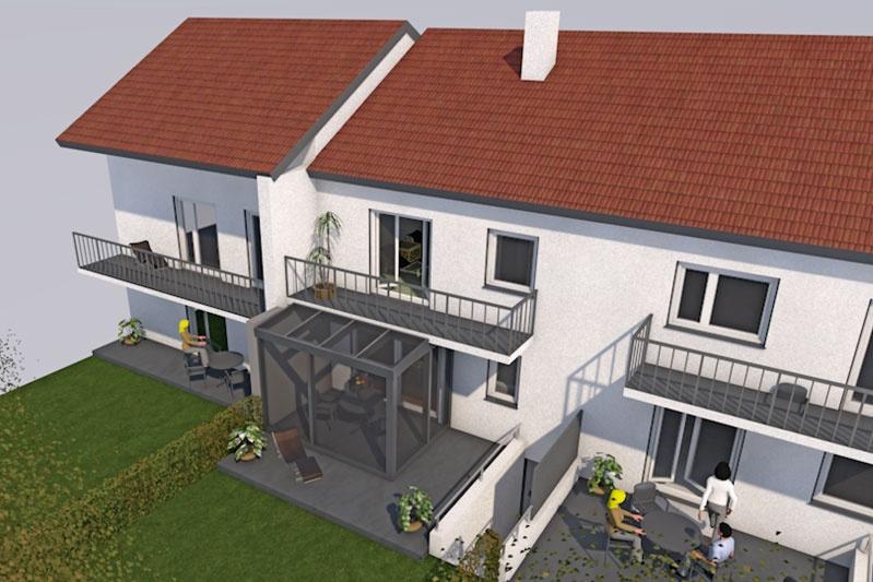 Sanierung Reihenmittelhaus Regensburg Terrasse mit Wintergarten