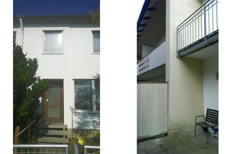 Sanierung Reihenmittelhaus Regensburg Eingang/Terrasse vorher