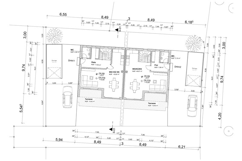 Neubau Doppelhaus Regensburg-Schwabelweis, Planungsansicht Grundriss