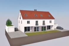 Neubau Doppelhaus Regensburg-Schwabelweis, Planungsansicht 3D