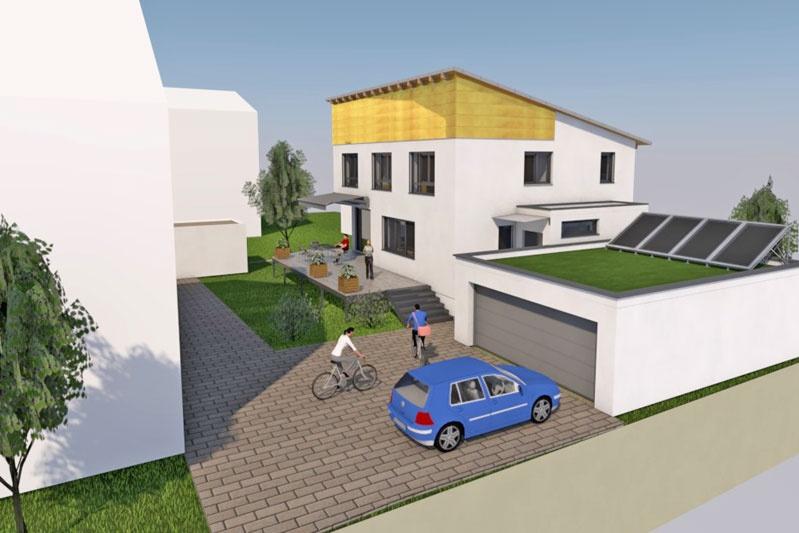 Neubau EFH in Obertraubling, Landkreis Regensburg, Planungsansicht 3D