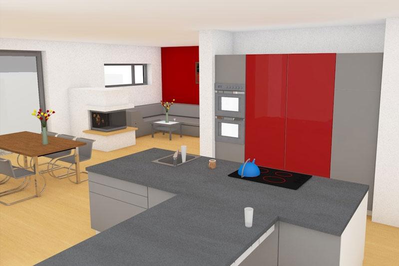 Neubau EFH in Obertraubling, Landkreis Regensburg, Planungsansicht Küche 1
