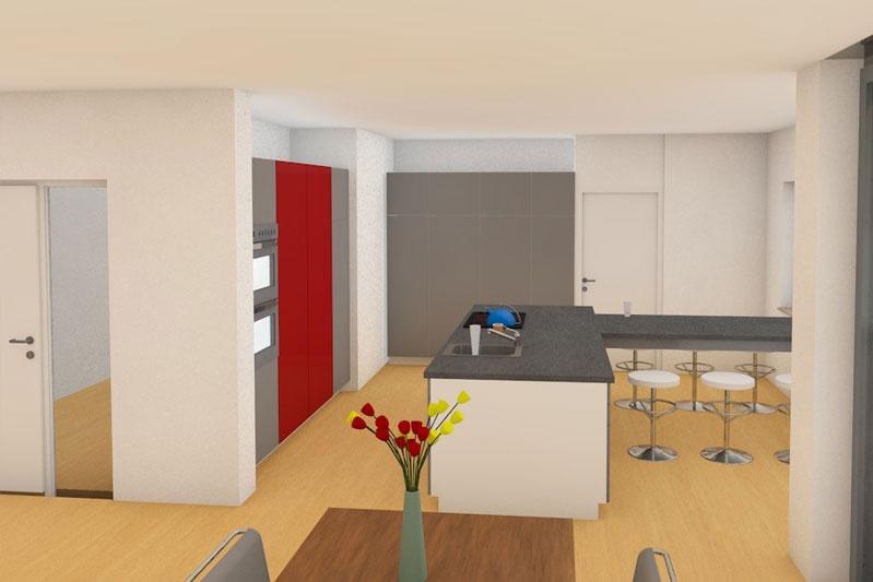 Neubau EFH in Obertraubling, Landkreis Regensburg, Planungsansicht Küche 2