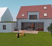 Neubau Kettenhaus In Burgweinting, Regensburg Stadt, Planung Aussenansicht Garten