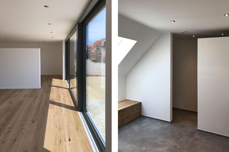 Neubau Kettenhaus in Burgweinting, Regensburg Stadt, Innenansicht Fensterfront, Dusche
