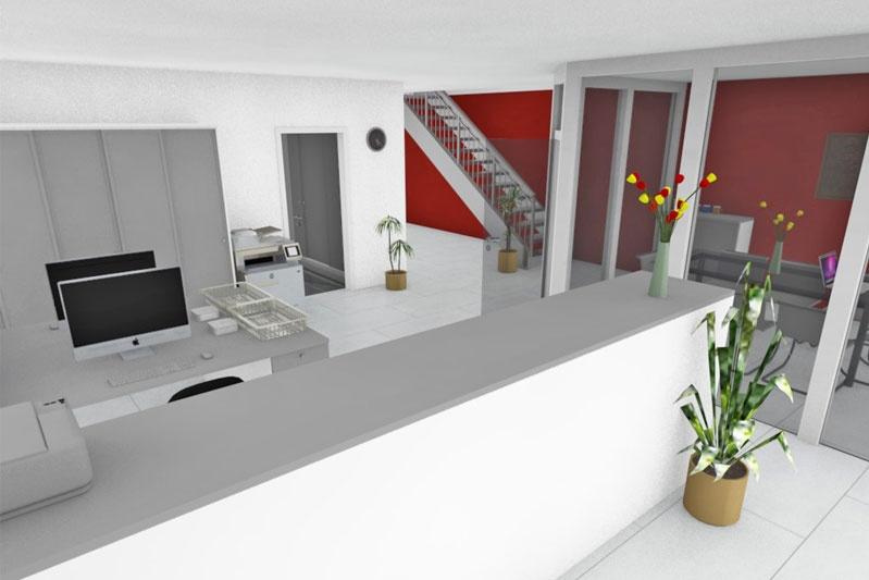 Bürogebäude mit Halle in Thalmassing, Landkreis Regensburg, Planung Innenansicht 1