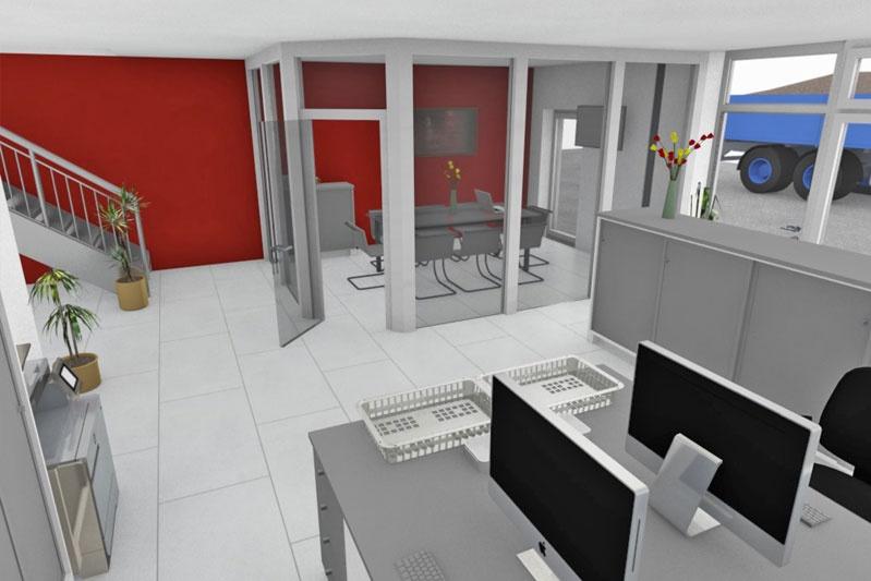 Bürogebäude mit Halle in Thalmassing, Landkreis Regensburg, Planung Innenansicht 2