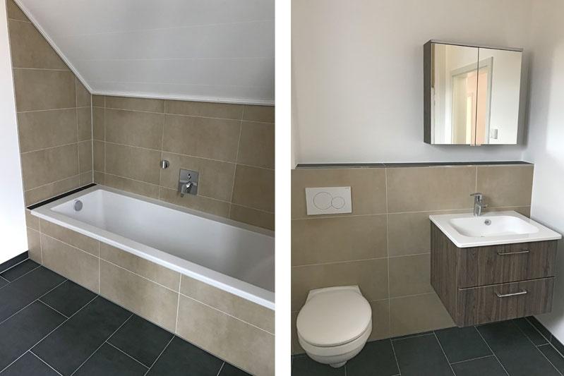 Neubau zwei Doppelhaushälften und ein Kettenhaus in Oberisling, Stadt Regensburg, Ansichten Bad und WC