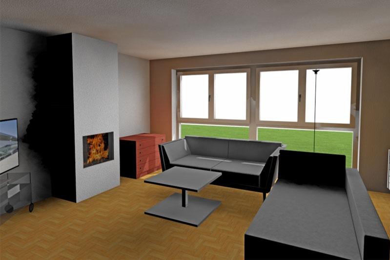 Sanierung 60-er Jahre Wohnhaus, Obertraubling, Lkr. Regensburg, Planung Wohnzimmer