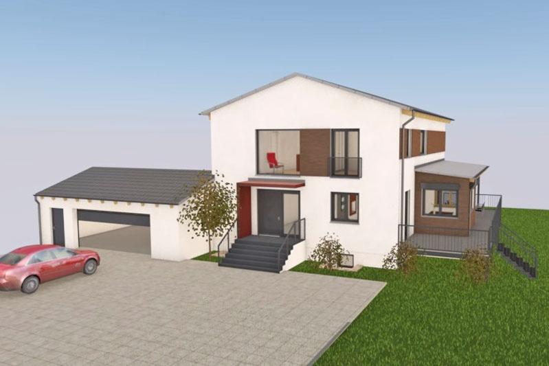 Neubau Einfamilienhaus in Mintraching, Landkreis Regensburg, Planung Aussenansicht