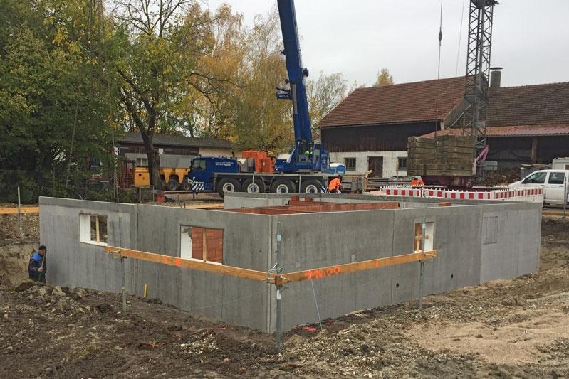 Neubau Einfamilienhaus in Mintraching, Landkreis Regensburg, Bauphase Kellerwände