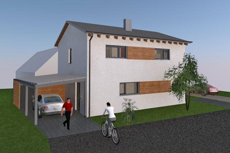Neubau Einfamilienhaus in Obertraubling, Landkreis Regensburg, Planungsansicht Hauseingang