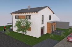 Neubau Einfamilienhaus in Obertraubling, Landkreis Regensburg, Planungsansicht Terrasse