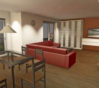 Neubau Einfamilienhaus In Obertraubling, Landkreis Regensburg, Planungsansicht Wohnen/essen