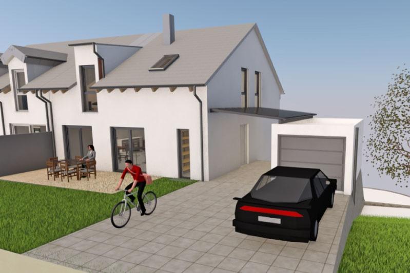 Neubau Einfamilienhaus in Schönhofen, Landkreis Regensburg, Planungsansicht außen