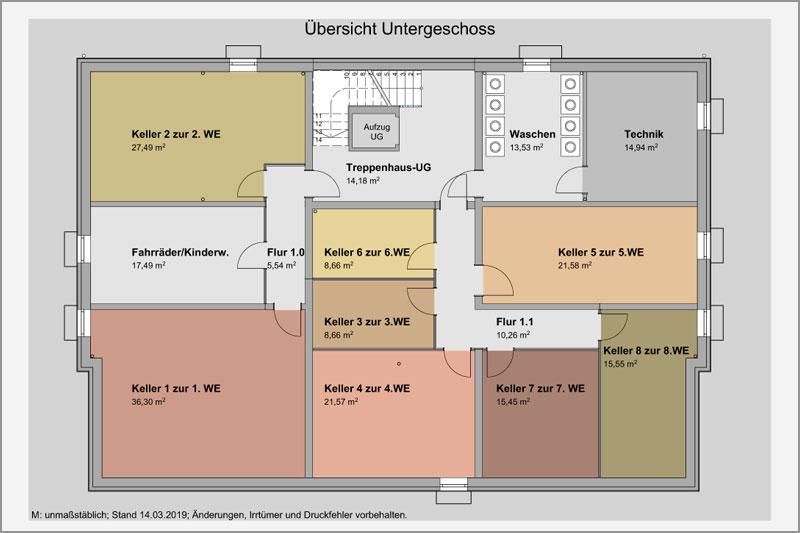 Mehrfamilienhaus in Barbing, Lkr. Regensburg, Übersicht Untergeschoss
