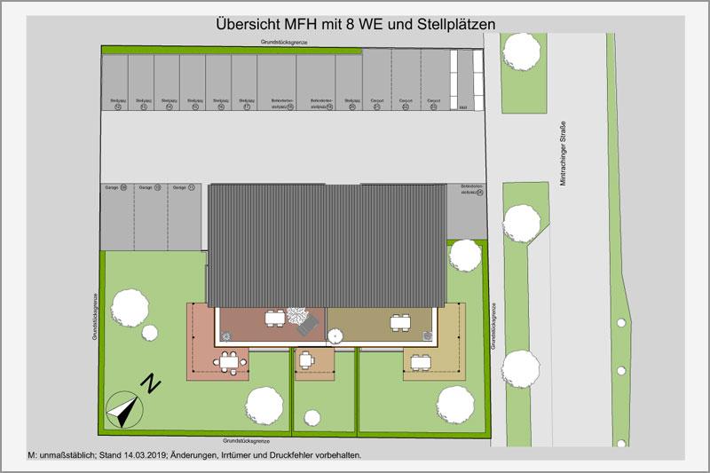 Mehrfamilienhaus in Barbing, Lkr. Regensburg, Stellplätze